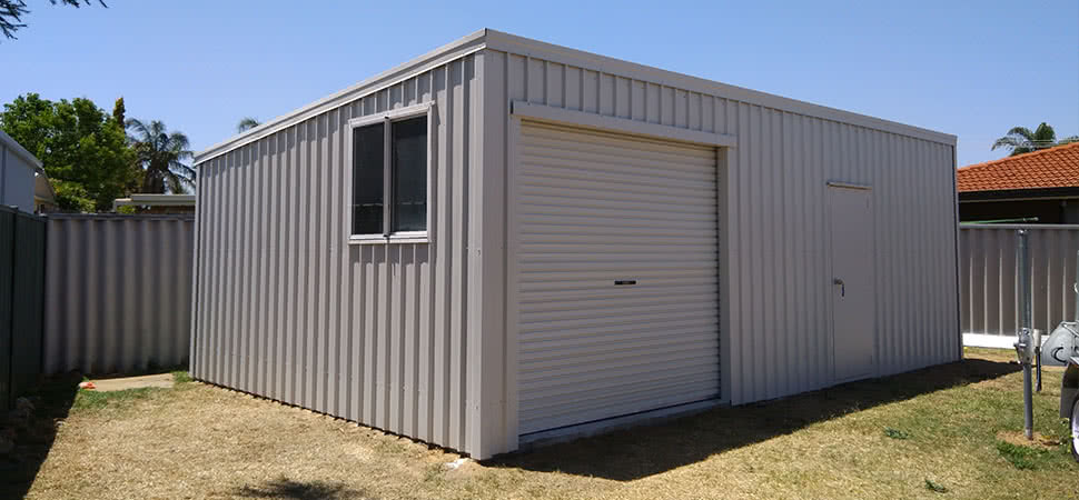 Skillion Roof Garage - Chittering - Supplied and Build by Roys Sheds