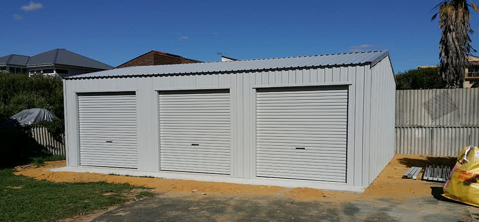 Triple Door Garage - Chittering - Supplied and Build by Roys Sheds