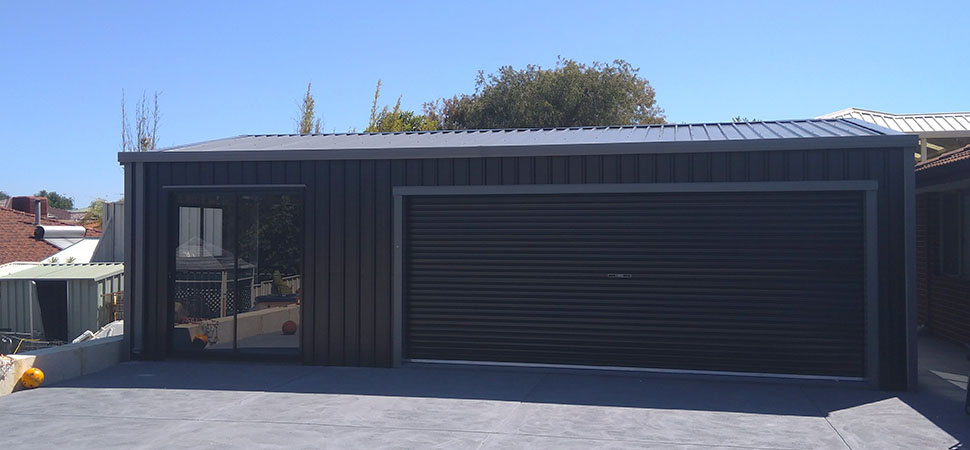 Wide Door Garage - Chittering - Supplied and Build by Roys Sheds