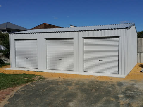 Triple Door Garage   Storage Shed   Supplied and Build by Roys Sheds